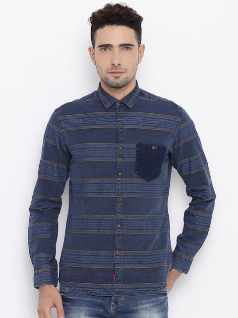 Killer Men Navy Blue Striped Casual Shirt