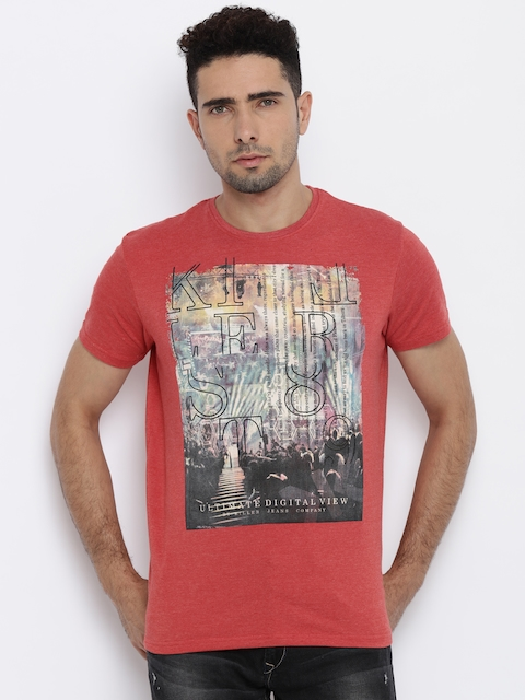 Killer Men Coral Red Striped T-Shirt