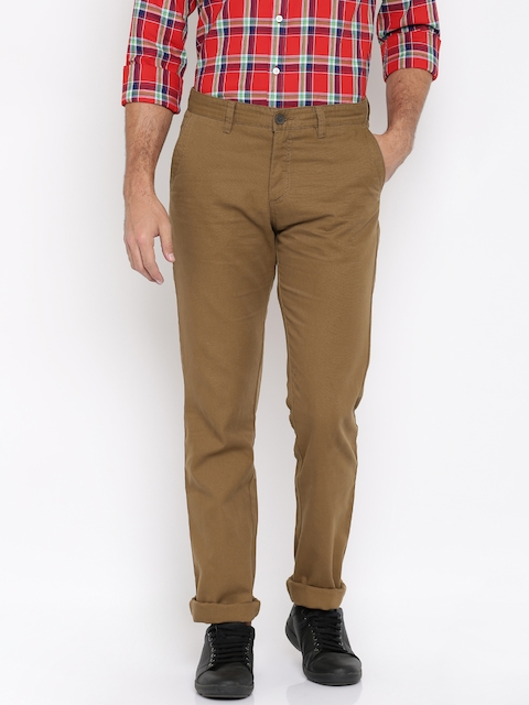 Allen Solly Men Brown Solid Chinos