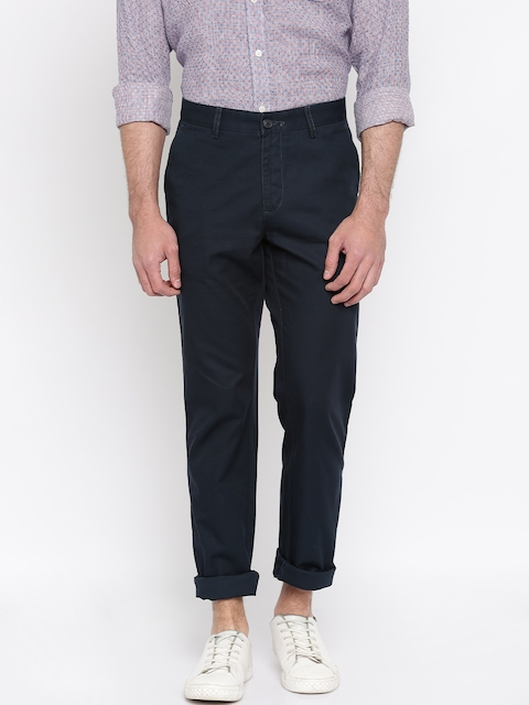 Allen Solly Men Navy Blue Solid Regular Fit Flat-Front Trousers