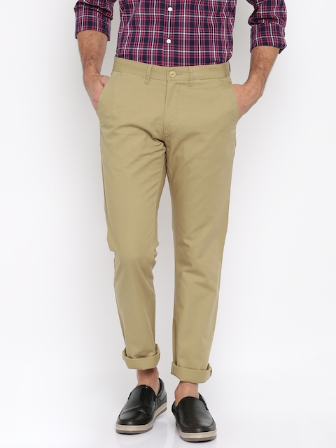 Allen Solly Men Khaki Solid Regular Fit Flat-Front Trousers