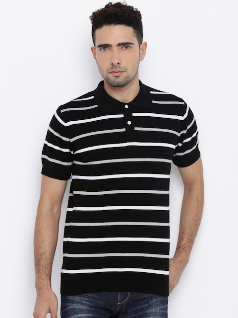 Allen Solly Men Black Striped Polo T-Shirt