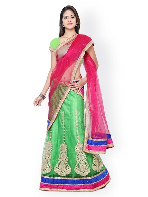 Nanda Silk Mills Green Embroidered Net Semi-Stitched Lehenga Choli with Dupatta