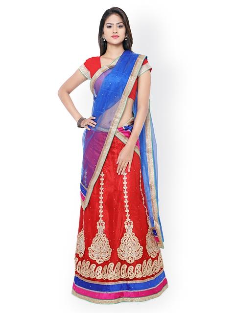 Nanda Silk Mills Red & Blue Embroidered Net Semi-Stitched Lehenga Choli with Dupatta