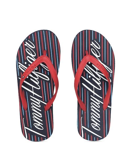 Tommy Hilfiger Men Red & Blue Striped Flip-Flops