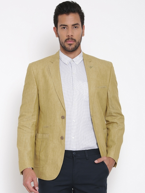 Van Heusen Khaki Linen Single-Breasted Slim Smart Casual Blazer