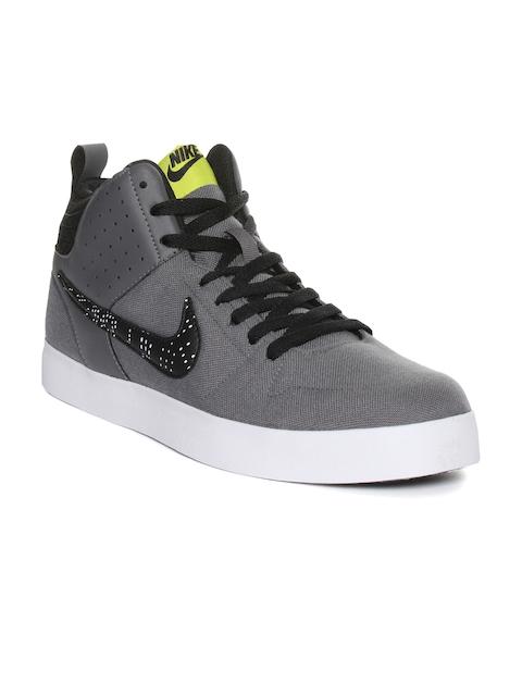 Nike Men Grey Liteforce III MID Solid Mid-Top Sneakers