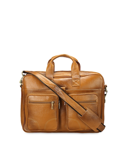 Teakwood Leathers Men Tan Brown Genuine Leather Laptop Bag