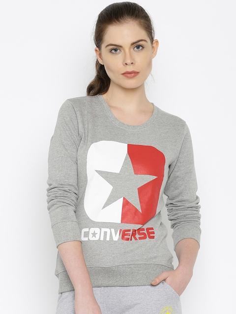 Converse Grey Melange Printed Sweatshirt