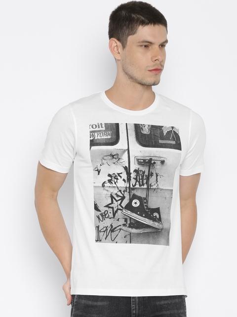 Converse Men White Printed T-shirt