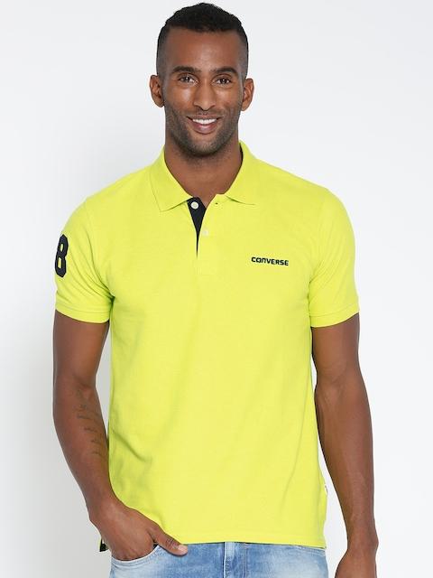 Converse Men Lime Green Polo T-shirt