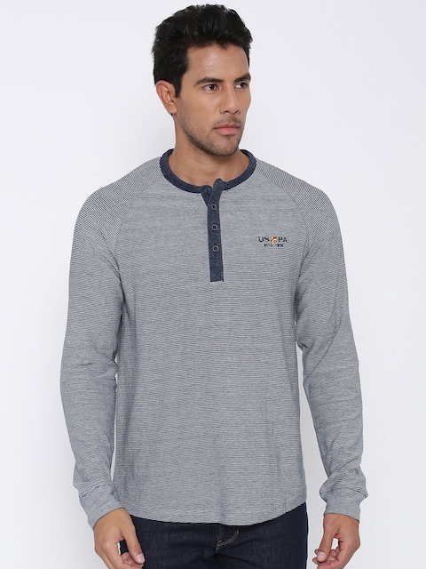 U.S. Polo Assn. Men Grey Self-Striped Henley Neck T-shirt