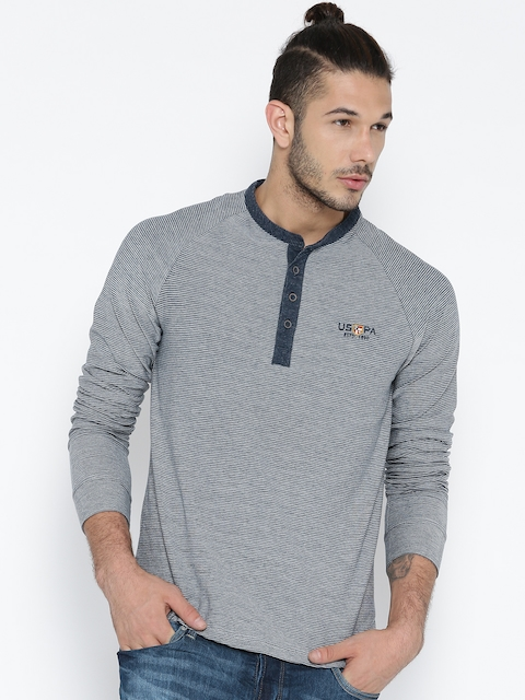 U.S. Polo Assn. Denim Co. Men Grey Self-Striped Henley Neck T-shirt