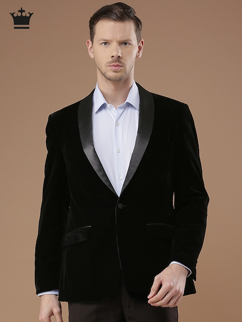 Louis Philippe Black Ultra Fit Single-Breasted Formal Blazer