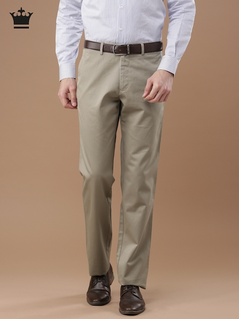 Louis Philippe Men Beige New Standard Fit Solid Formal Trousers