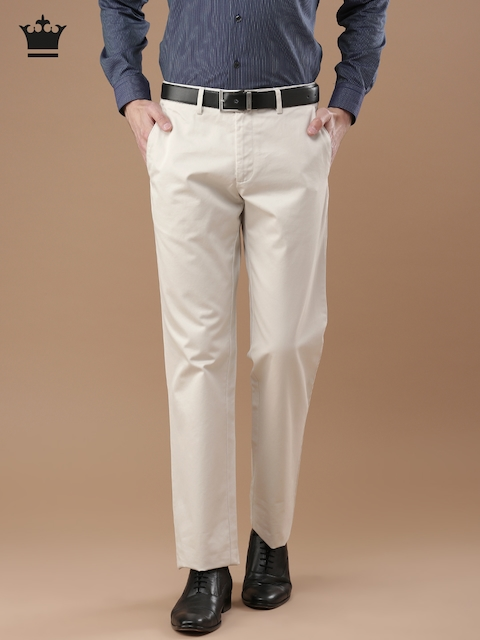 Louis Philippe Men Off-White Standard Fit Solid Formal Trousers