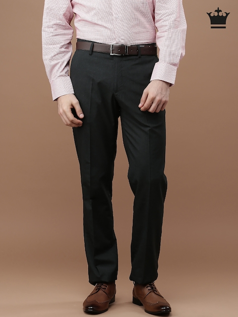 Louis Philippe Men Charcoal Ultra Fit Flat-Front Trousers