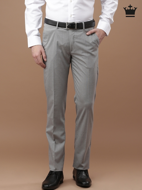 Louis Philippe Men Grey Solid Flat-Front Trousers