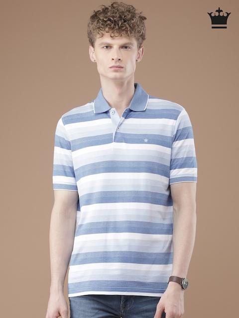 Louis Philippe Men Blue & White Striped Polo T-Shirt