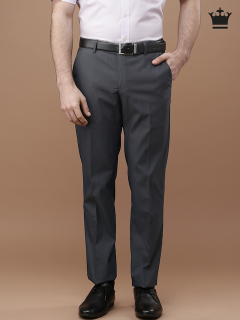 Louis Philippe Men Navy Blue Self-design Flat-Front Trousers