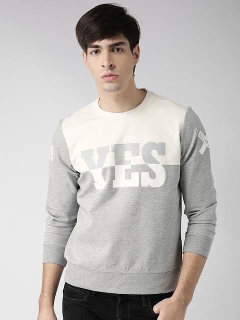 Metersbonwe Grey Melange & Off-White Colourblocked Printed Sweatshirt