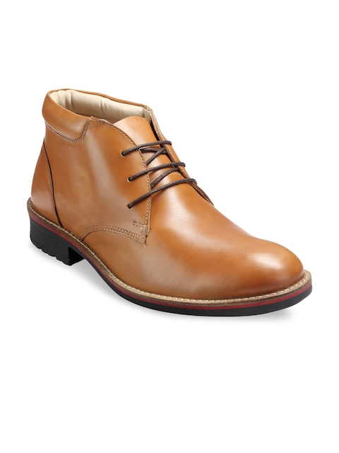 Teakwood Leather Men Tan Brown Leather Flat Boots