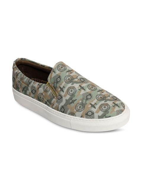 bacca bucci Men Olive Printed Regular Slip On Sneakers