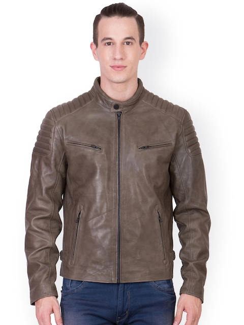 Justanned Olive Green Leather Jacket