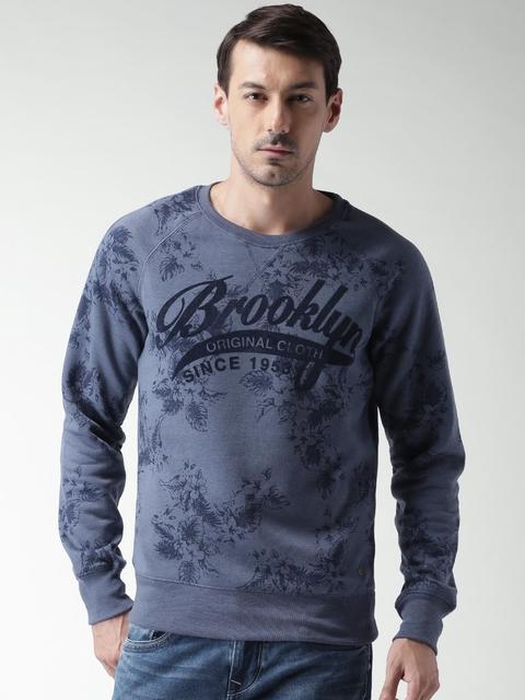 ALCOTT Men Blue Printed Sweatshirt