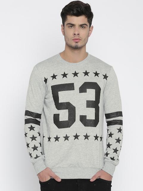 ALCOTT Men Grey Self-Design Pullover Sweatshirt