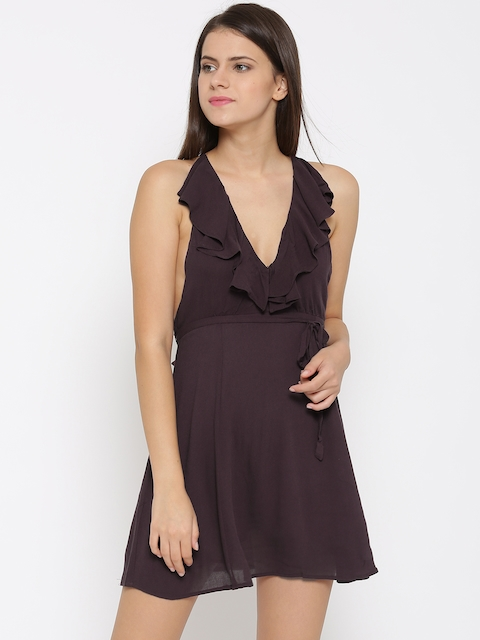 FOREVER 21 Women Burgundy Self-design A-Line Dress