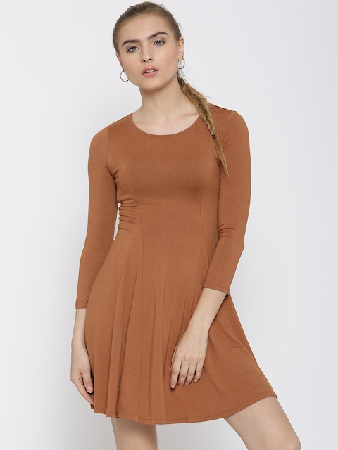 FOREVER 21 Women Rust Brown Skater Dress