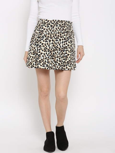 FOREVER 21 White & Black Animal Print Pleated Skirt