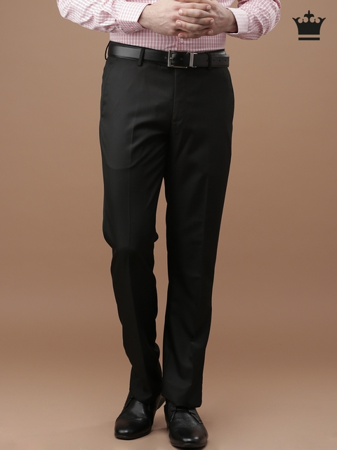 Louis Philippe Men Black Ultra Fit Flat-Front Trousers