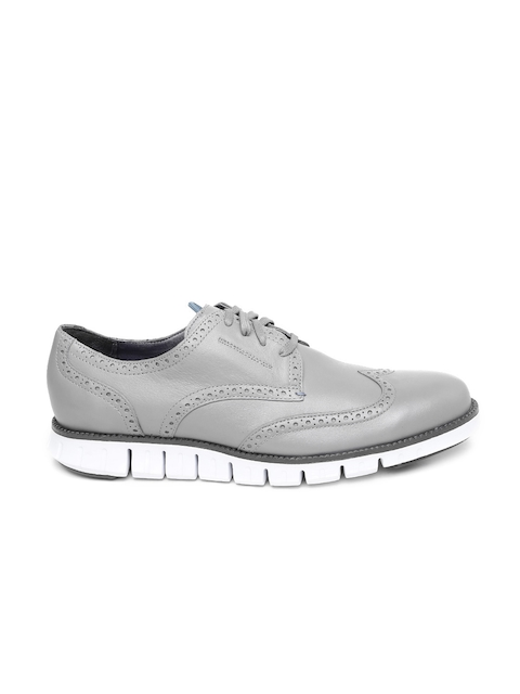 Cole Haan Men Grey Decon Zerogrand Leather Brogues