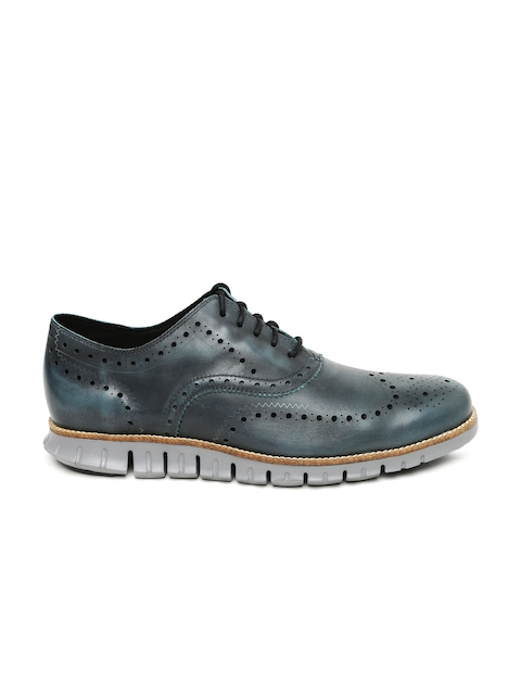 Cole Haan Men Grey Zerogrand Wing Ox Leather Brogues