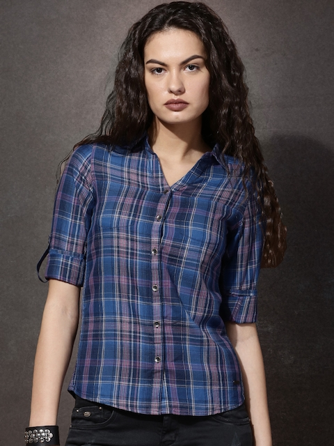 Roadster Women Navy & Pink Regular Fit Checked Casual Shirt