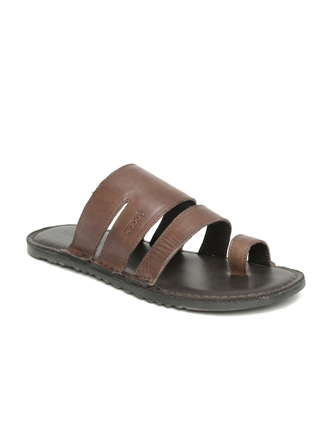 Woods Men Brown Leather Sandals