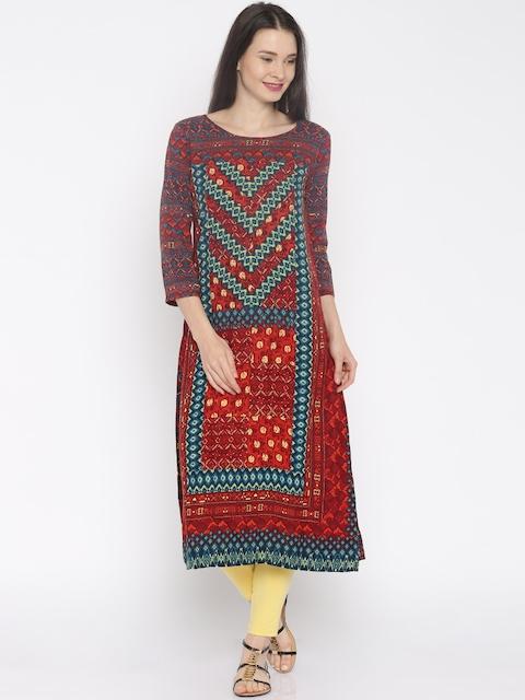 Global Desi Women Multicoloured Printed A-Line Kurta