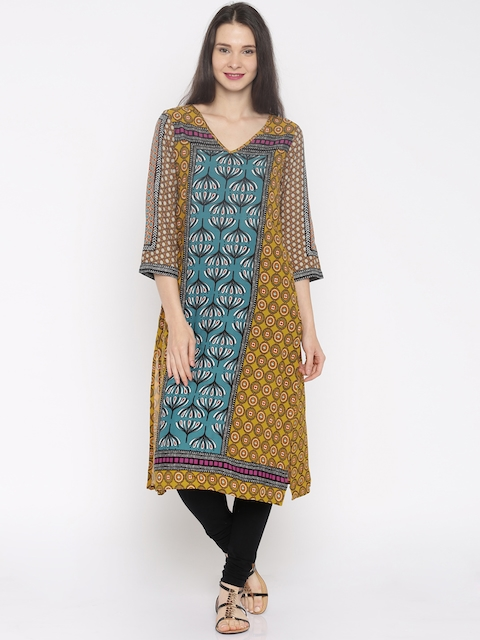 Global Desi Women Mustard Yellow Printed Kurta  available at myntra for Rs.679