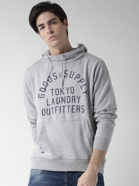Tokyo Laundry Grey Melange Printed Hooded Sweatshirt
