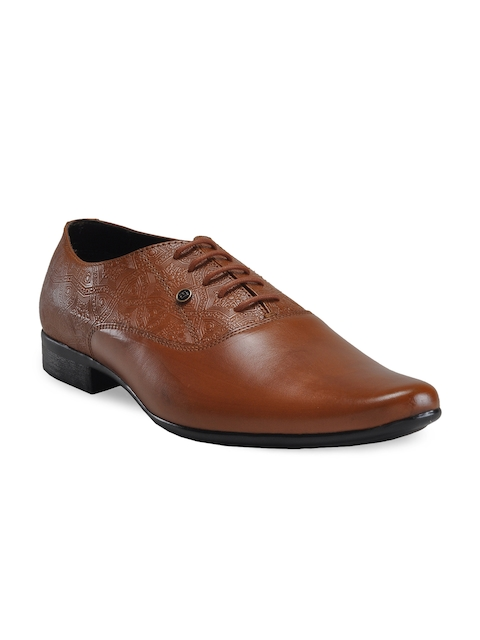 Franco Leone Men Tan Brown Leather Oxfords