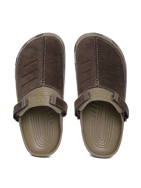 Crocs Men Brown Genuine Leather Clogs