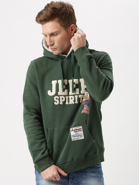 Jeep Unisex Green Embroidered Hooded Sweatshirt