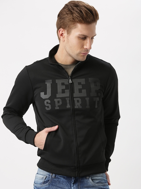Jeep Unisex Black Printed Jacket