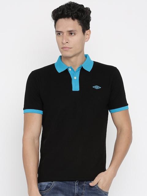Umbro Men Black Solid Polo T-Shirt