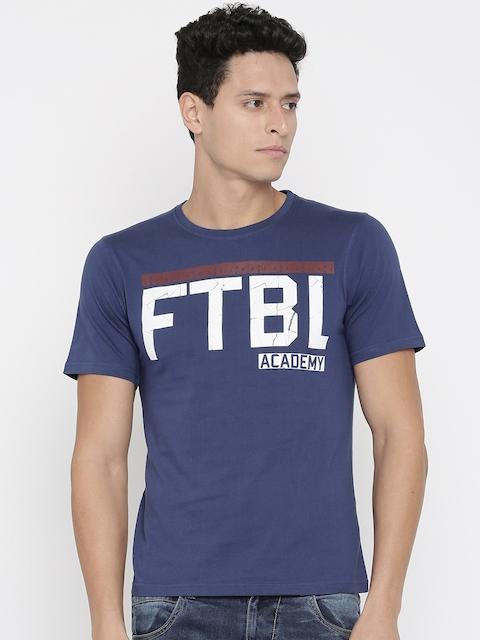 Umbro Men Blue Printed Round Neck T-Shirt