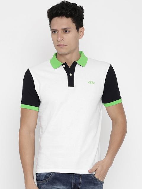 Umbro Men White Solid Polo T-Shirt