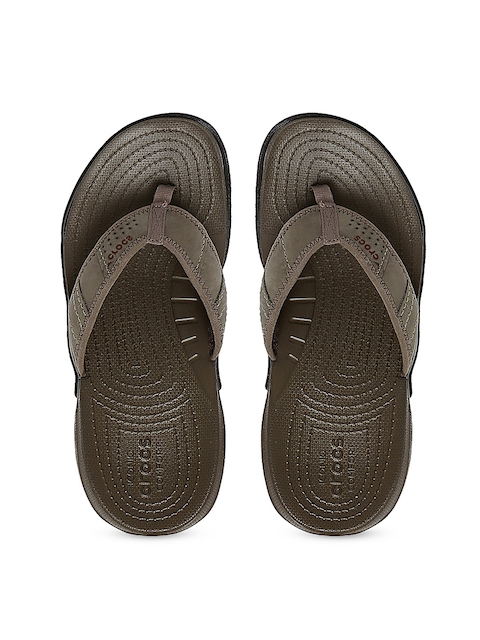 Crocs Men Brown Suede Flip-Flops