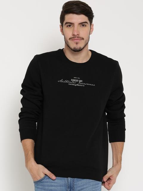 Numero Uno Black Embossed Detail Sweatshirt